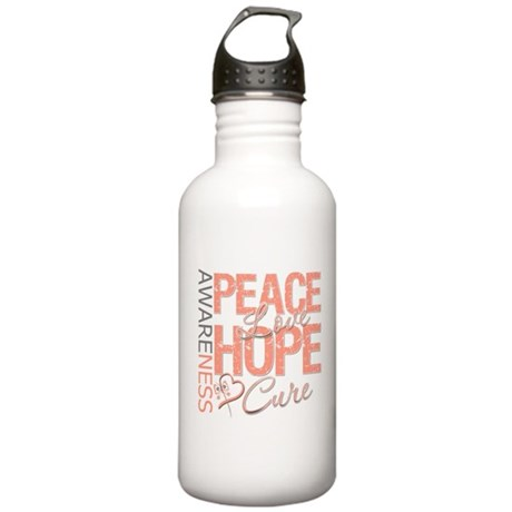 Uterine Cancer Peace Love Stainless Water Bottle 1