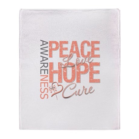 Uterine Cancer Peace Love Throw Blanket