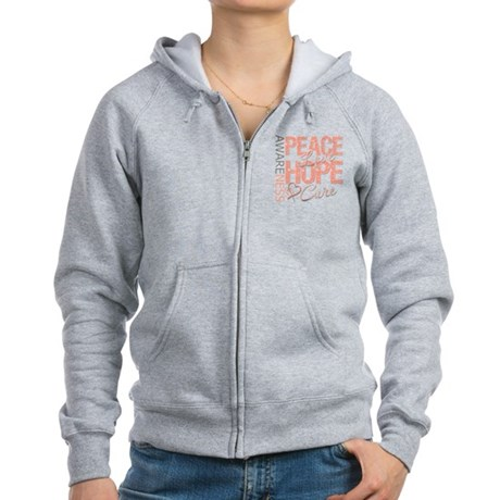 Uterine Cancer Peace Love Women's Zip Hoodie