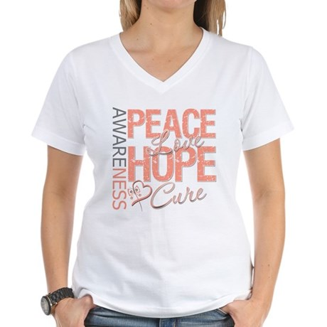 Uterine Cancer Peace Love Women's V-Neck T-Shirt
