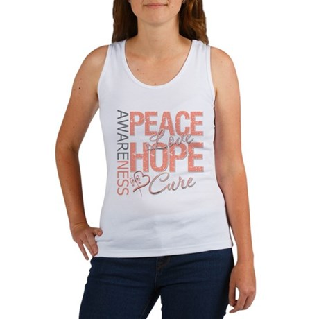 Uterine Cancer Peace Love Women's Tank Top