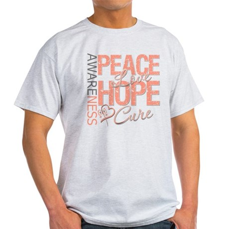 Uterine Cancer Peace Love Light T-Shirt