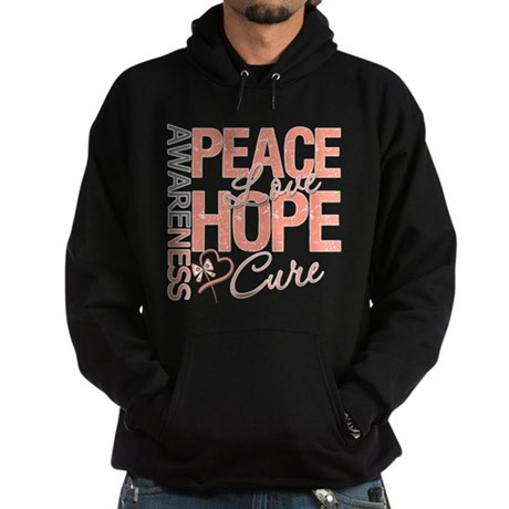Uterine Cancer Peace Love Hoodie (dark)
