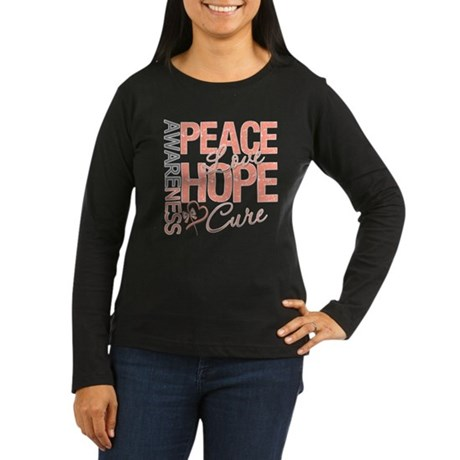 Uterine Cancer Peace Love Women's Long Sleeve Dark