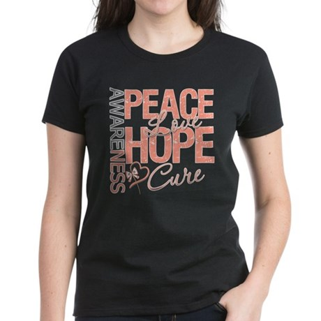 Uterine Cancer Peace Love Women's Dark T-Shirt
