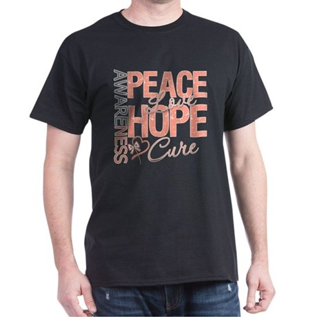 Uterine Cancer Peace Love Dark T-Shirt