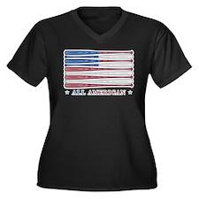 Baseball Flag Women's Plus Size V-Neck Dark T-Shir
