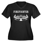 Firefighter Tattoos Women's Plus Size V-Neck Dark