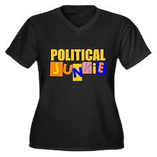 political junkie Women's Plus Size V-Neck Dark T-S