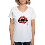 Vampire Fangs Women's V-Neck T-Shirt