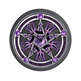 Pentacle of the Purple Moon Wall Clock