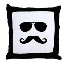 glasses and mustache Throw Pillow