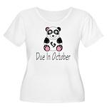 October Due Date Panda Women's Plus Size Scoop Nec