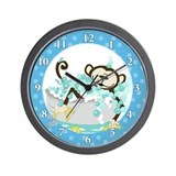 Monkey in Tub Bathroom Wall Clock