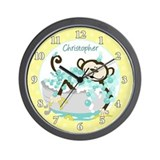 Monkey in Tub Bathroom Wall Clock (Yellow)