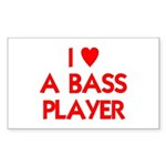 I LOVE A BASS PLAYER Sticker (Rectangle 50 pk)