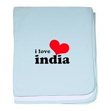 I Love India baby blanket