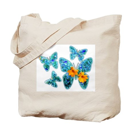Electric Blue Butterflies Tote Bag