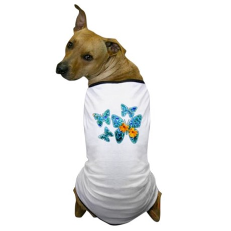 Electric Blue Butterflies Dog T-Shirt