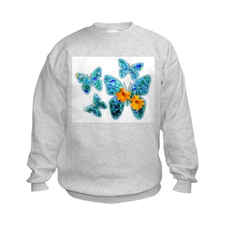 Electric Blue Butterflies Kids Sweatshirt
