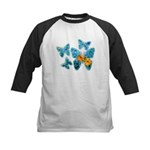Electric Blue Butterflies Kids Baseball Jersey
