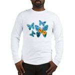 Electric Blue Butterflies Long Sleeve T-Shirt