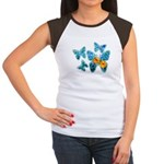 Electric Blue Butterflies Women's Cap Sleeve T-Shi