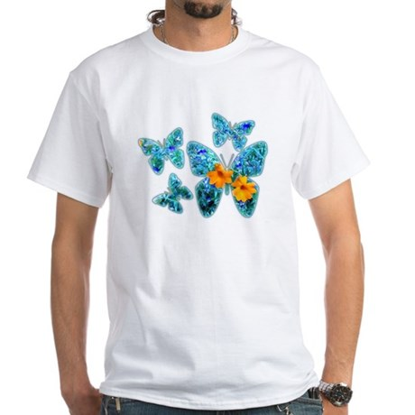 Electric Blue Butterflies White T-Shirt