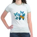 Electric Blue Butterflies Jr. Ringer T-Shirt