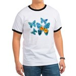 Electric Blue Butterflies Ringer T