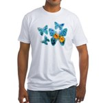 Electric Blue Butterflies Fitted T-Shirt