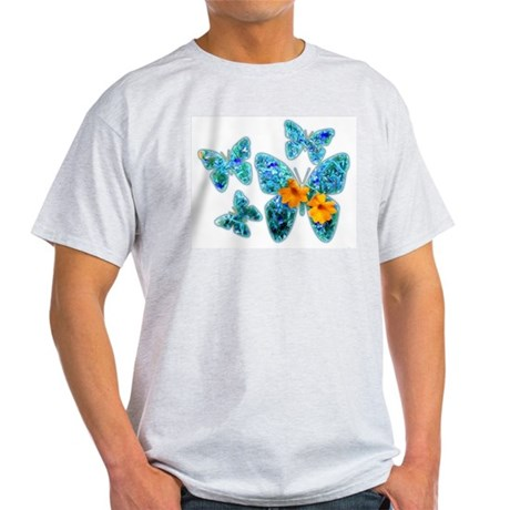 Electric Blue Butterflies Ash Grey T-Shirt