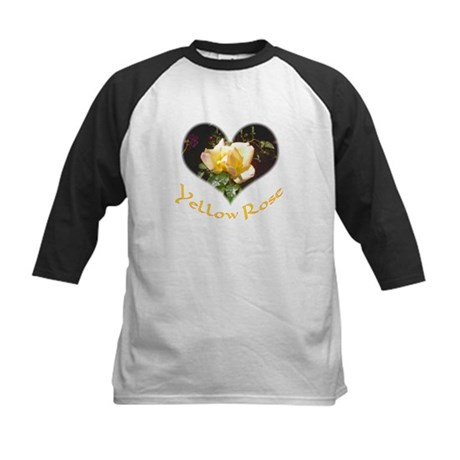 Yellow Rosebud Kids Baseball Jersey