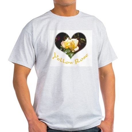 Yellow Rosebud Ash Grey T-Shirt