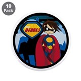 "Cute Little Hero Superhero 3.5"" Button (10 Pk"