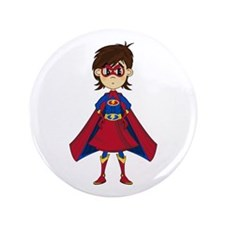 "Cute Superhero Girl 3.5"" Button (100 Pk)"