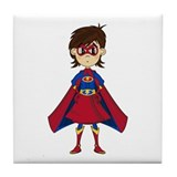 Cute Superhero Girl Tile Coaster