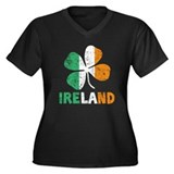 Ireland Women's Plus Size V-Neck Dark T-Shirt