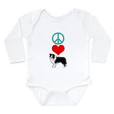Peace Love Border Collie Long Sleeve Infant Bodysu