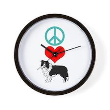 Peace Love Border Collie Wall Clock