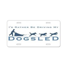 Cute Sled dog Aluminum License Plate