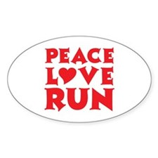 Peace Love Run - red Decal