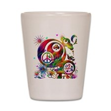 Lucky Peace Sign Collage Shot Glass