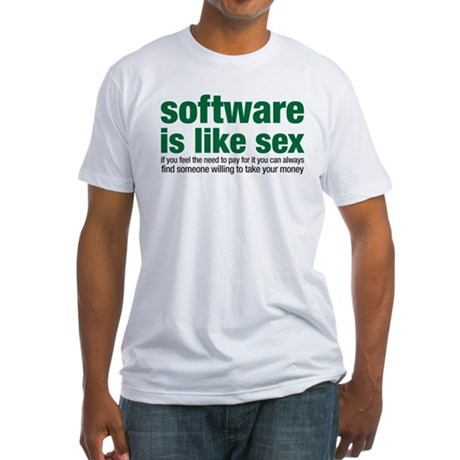 software is like sex Fitted T-Shirt