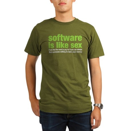 software is like sex Organic Men's T-Shirt (dark)