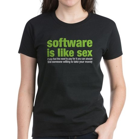 software is like sex Women's Dark T-Shirt