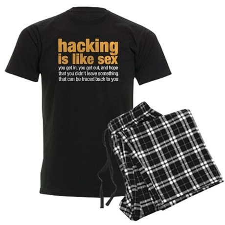 hacking is like sex Men's Dark Pajamas