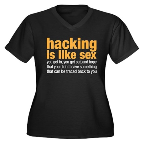 hacking is like sex Women's Plus Size V-Neck Dark