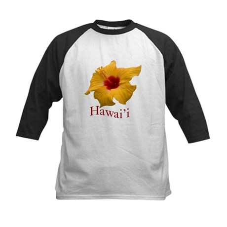 Yellow Hibiscus Kids Baseball Jersey
