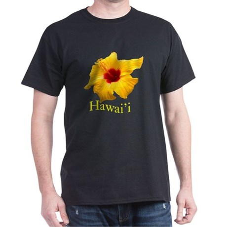 Yellow Hibiscus Black T-Shirt